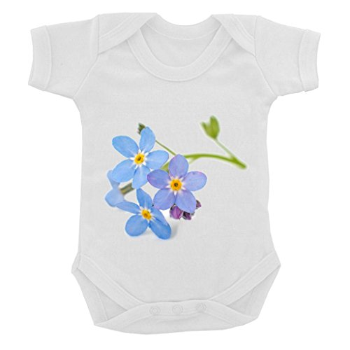 Forget Me Not Suit - Forget Me Not Image on White Baby Bodysuit