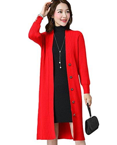 Gilet Pull Manche CHENGYANG Cardigans Longue avec Casual Chandail Cardigan Tricot Long Rouge Femme Boutons xvvT650w4n