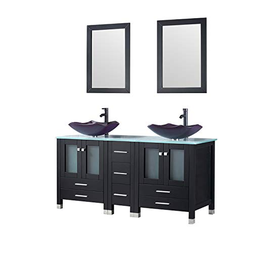 (Walcut 60Inch Black Bathroom Vanity and Sink Combo Solid MDF Cabinet with Purple Double Glass Vessel Sink and Faucet + Pop Up Drain Combo )