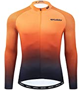 Lo.gas Long Sleeve Cycling Jersey Mens Bike Shirts with 3 Rear Pockets Reflective Quick Dry UPF 50+