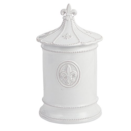 Mud Pie Fleur de Lis Canister (Set of 3), White