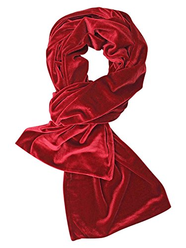 Red Long Velvet Evening Scarf - Black Velvet Scarf