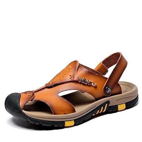 da taglie pelle traspiranti 38 Light con britannica casual Brown Sandali suola in in pantofola spessa pelle estate Baotou sandali scarpe 45 Ydxwan uomo traspirante antiscivolo XwEfx55R