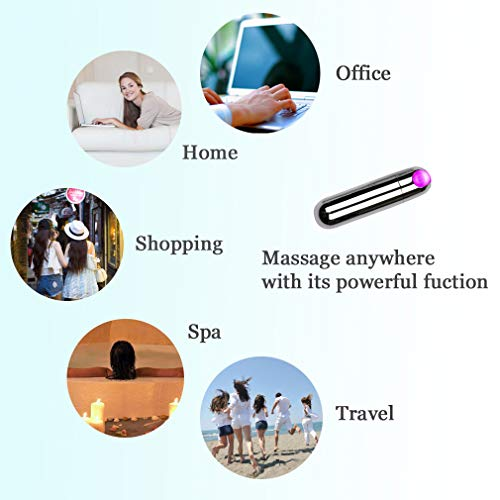 CAREMORE Mini Wand Handheld Electric Massager, Pocket Travel Massager for Body Neck Back Shoulder, Waterproof Wireless Personal Powerful Portable, USB Rechargeable -Silver by CAREMORE (Image #4)