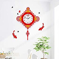 JFFFFWI Clock Wall Clock Creative Contemporary and Contracted Sitting Room Quiet Art Festival China Stone of The Clock