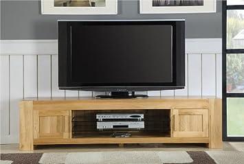 Milton muebles de salón de roble sólido gabinete grande del soporte de la tv del plasma: Amazon.es: Hogar
