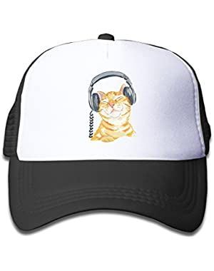 Kid's Orange Tabby Cat Trucker Mesh Baseball Cap Hat Trucker Hats Black
