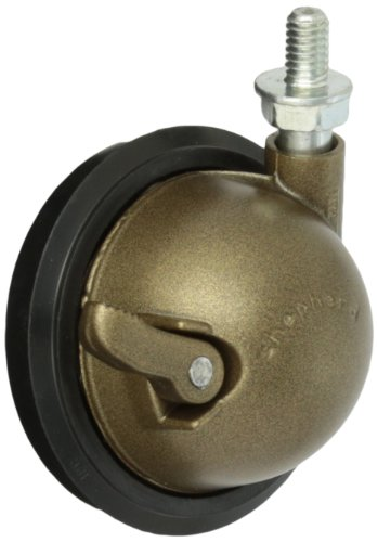 Shepherd-Saturn-Series-3-Diameter-Rubber-Wheel-Swivel-Ball-Caster-with-Brake-516-Diameter-x-12-Length-UNC18-Threaded-Stem-100-lbs-Capacity-Windsor-Antique-Finish