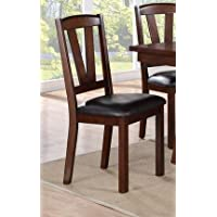 Poundex Faux Leather Seat Wood Dining Side Chair, Dark Brown, Set Of 2