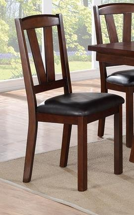 Dark Brown Side Chair - Poundex PDEX-F1331 Faux Leather Seat Wood Dining Side Chair, Dark Brown, Set of 2