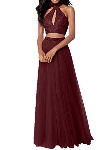 Steine mit Tuell Abschlussballkleider Damen Zwei Rosa Abiballkleider Charmant Teilig Promkleider Burgundy Abendkleider wvEqAz