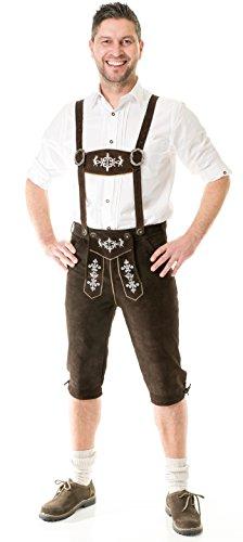 Herren Trachten Lederhose Kniebund Almhirsch braun oder schwarz Marke Achim Klein (56, braun)