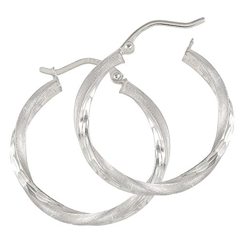 Balluccitoosi Satin Finish Hoop Earrings - 14k White Gold Earring for Women and Girls - Unique Jewelry for Everyday by Ballucci&Toosi Goldsmith