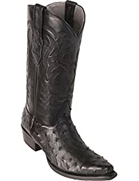 Men's Sinp Toe Genuine Leather Ostrich Skin Western Boots - Exotic Skin Boots