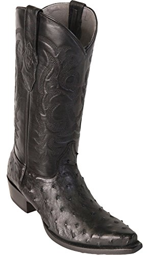 Men's Sinp Toe Black Genuine Leather Ostrich Skin Western Boots - Exotic Skin Boots