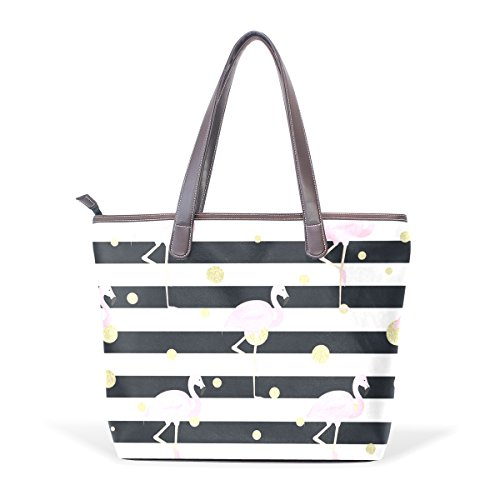 Dragon Sword Flamingos Gold Polka Dot Stripes Women Handbags Hobo Shoulder Bags Tote PU Leather Handbags Fashion Bags