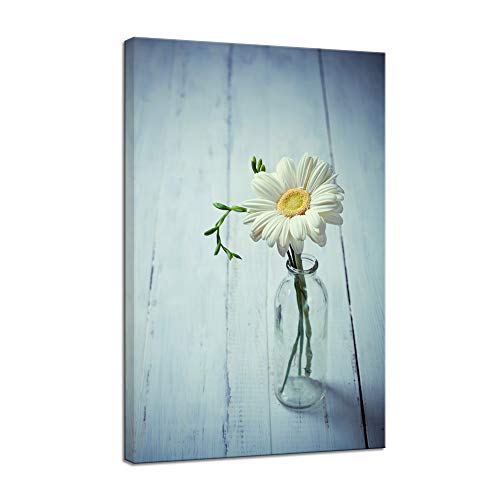 VIIVEI Beautiful Flower Canvas Print Wall Art Floral Home Decor Picture Poster for Bedroom Living Room Office Blue Painting Framed Ready to Hang
