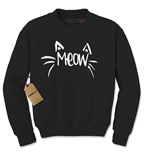 Crew Meow Cat Whiskers Adult Large Black