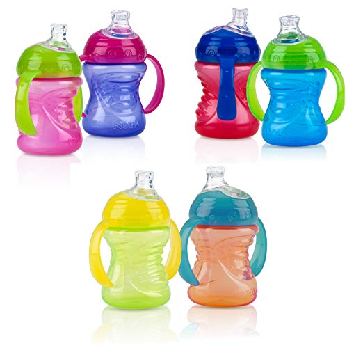 Nuby No-Spill Super Spout Grip N' Sip 4M+ - 4 Count (ASSORTED COLORS)