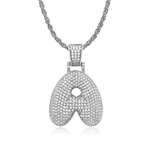 - jingH Personalized A-Z Letter Necklace Unisex Jewelry Gifts for Men/Women(Silver-Plated-Base,G/20(50cm))
