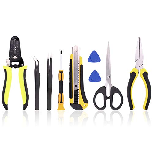 LED Strip Connector Tool Kit - Include 22-30 AWG Wire Stripping Tool, Pry Opening Tool, Flat Nose Pliers, Screwdriver, Utility Knife, ESD Tweezers, Scissors for LED Strip Connectors -