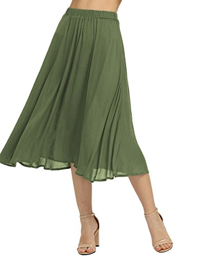 Summer Elastic Waist Midi Loose Swing Skirt Army Green S (Cotton Unlined Skirt)