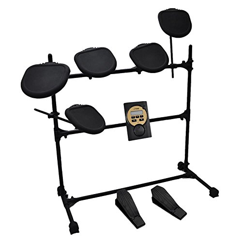 Pyle Pro Electronic Drum Set - Electric Drum Machine with Digital Module System, 5 Drum Pad Heads, Hi-Hat and Bass Pedal Controller, Rack Frame, Sticks - Tom, Hi Hat, Snare Drums, Cymbal - PED041