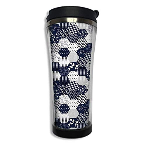 Travel Coffee Mug 3D Printed Portable Vacuum Cup,Insulated Tea Cup Water Bottle Tumblers for Drinking with Lid 8.45 OZ(420 ml)by,Navy Blue Decor,Octagon Patchwork Style Pattern Image with Dots Stars S