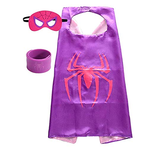 Superhero Capes for Kids, Dress up Costumes-Satin Cape and Felt Mask with Bracelet (Spider-Girl)