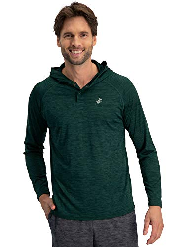 (Three Sixty Six Mens Hoodies Pullover - Long Sleeve Casual Hoodie for Men - Lightweight Thin Hooded Sweater T Shirt Hunter Green)