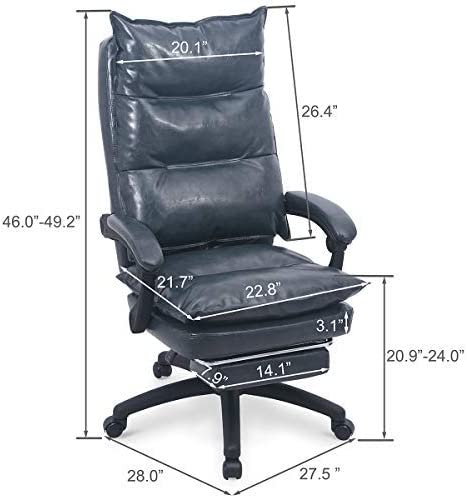 PU Leather Executive Office Chair Desk Task Computer Chair Swivel High Back Chair with Ergonomic Lumbar Support