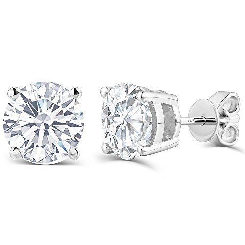 2CTW 6.5MM Moissanite Simulated Diamond Stud Earrings, Platinum Plated Silver Push Back HI Color White by Transgems