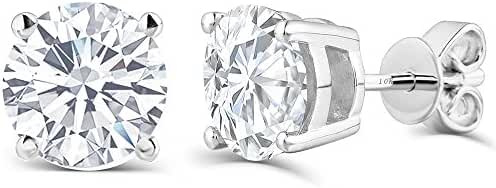 2CTW Moissanite Simulated Diamond Stud Earrings, Platinum Plated Silver Push Back HI Color White