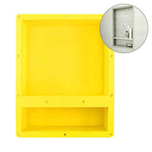 16″ x 20″ Yellow Rectangle Shower Niche - Double Shelf Shower Cube Ready for Tile Waterproof Leak-proof Bathroom Indoor Recessed Niche Storage Washing Toiletries Bottles by Suteck