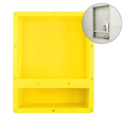 16u2033 X 20u2033 Yellow Rectangle Shower Niche   Double Shelf Shower Cube Ready For