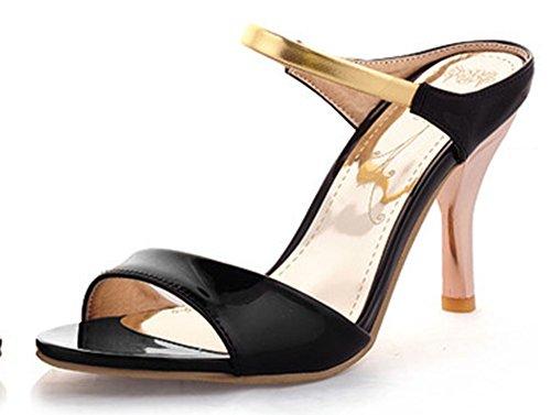 Sandalo Open Toe Sandalo Con Tacco A Spillo Stiletto Donna Moda Easemax Open Toe Nero