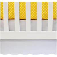 "Oliver B Crib Skirt Nursery Bedding, White, Scalloped – 100% Cotton – 26"" x 5..."