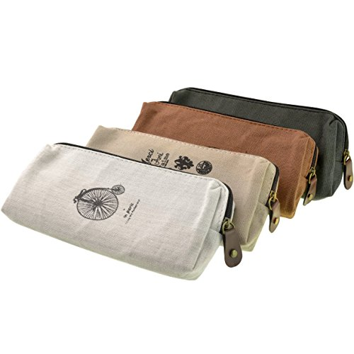 Price comparison product image Yookat Set of 4 Vintage Canvas Student Pen Pencil Case Stationery Pencil Holder Coin Purse Key Pouch Cell Phone Cases Cosmetic Makeup Bag School Office Travel Multifunction Storage Organizer