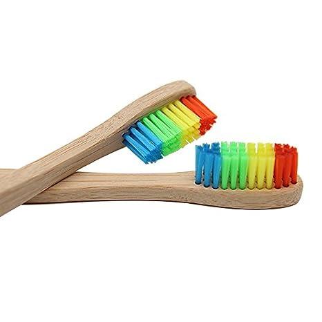 Cepillo de dientes ecológico con mango de bambú, color arco iris, suave para niños y cuidado dental para toda la familia: Amazon.es: Salud y cuidado ...