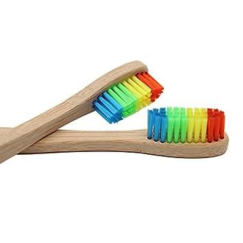 Cepillo de dientes ecológico con mango de bambú, color arco iris, suave para niños y cuidado dental para toda la familia