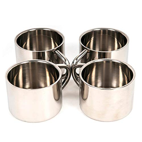 Silver Stainless Steel Double Wall Espresso Cups, Set of 4, ()