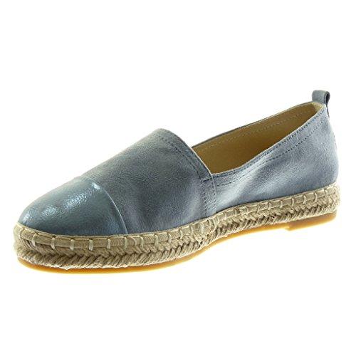 Espadrillas a Blu bi Donna Corda a Slip cm Grana 5 Moda On 2 Materiale Scarpe Blocco Tacco Angkorly qxT7wCEq