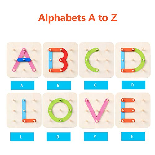 LiKee Wooden Alphabet Puzzle, Letter-Number-Shape-Color Recognition Toy, Montessori Toy, Preschool Educational Stacking Blocks for 3+ Years Old Baby Toddlers Kids