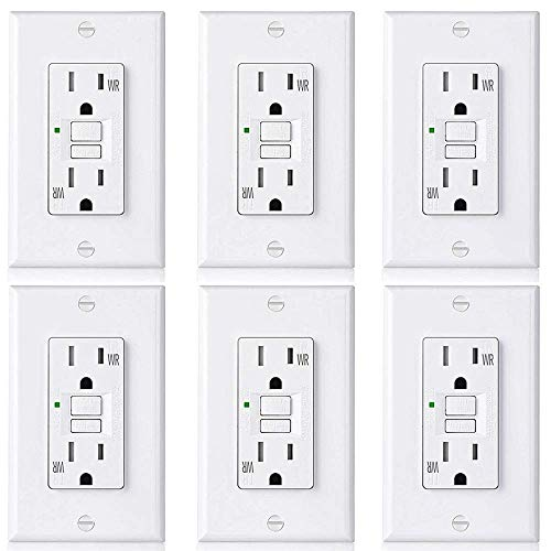 ([6 Pack] BESTTEN 15A WR Self-Test GFCI Outlet, Slim Outdoor Weather Resistant GFI, Tamper Resistant Receptacle with LED Indicator & Wall Plate, TR Ground Fault Circuit Interrupter, UL Listed,)