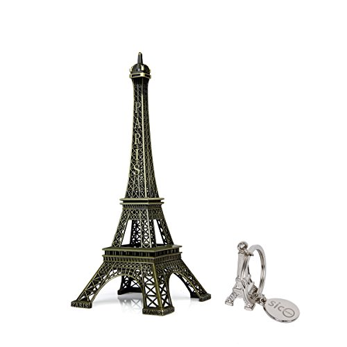 SiCoHome Eiffel Tower Statue 9.8inch Bronze Paris France Centerpiece Metal Eiffel Tower for Cake Topper,Gifts,Party and Home Decoration Metal Tower