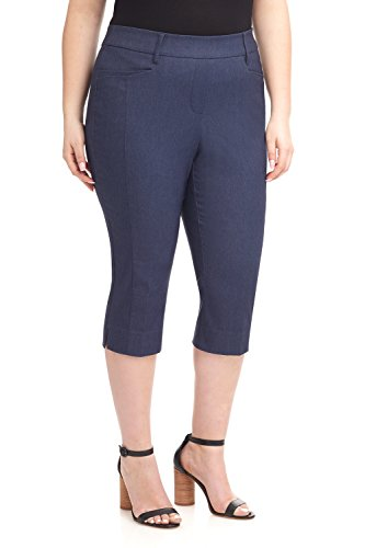 Rekucci Women's Ease in to Comfort Curvy Fit Plus Size Capri w/Tummy Control (16W,Indigo) ()