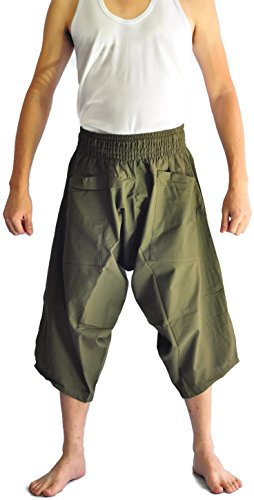 Siam Trendy Men's Japanese Style Pants fisherman pants All color design (Green) by Siam Trendy