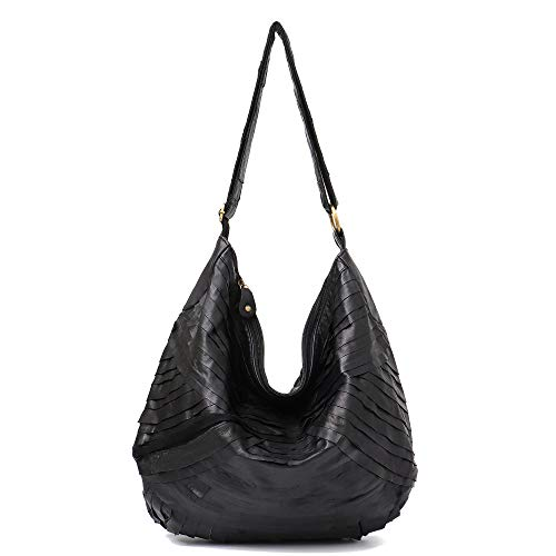 Black Lamb Leather - Vintage Leather Women Patchwork Hobo Bag STEPHIECATH Soft Casual Real Lamb Leather Sheep Skin Messenger Bag (BLACK)