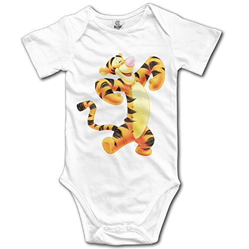 (ADAB Infant Tigger Funny Infant Cute Baby Onesie Bodysuit White)
