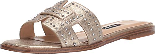 Nine West Women's Genesia Studded Slide Sandal Gold 7.5 M US (Nine West Gold Dress Sandals)